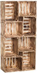 Drevobox Drevené opálené debničky knižnica 140 x 70 x 24 cm