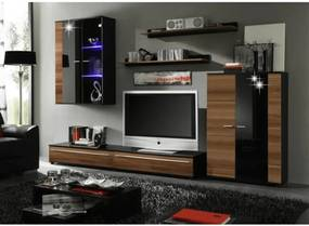 Obývacia stena, s LED osvetlením, slivka/čierna extra vysoký lesk HG, CANES NEW