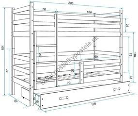 Poschodová posteľ ERIK 2 - 200x90cm - Borovica - Zelená