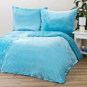 Obliečky Mikroplyš modrá, 140 x 200 cm, 70 x 90 cm