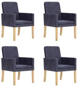vidaXL Jedálenské stoličky 4 ks, sivé, umelý semiš