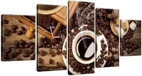 Obraz s hodinami Chutná aromatická káva 150x70cm ZP1182A_5B