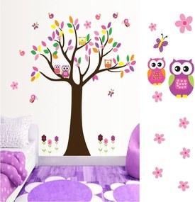 Slevnuj 3D nalepovacie zvieratká na stenu, strom sa sovičkama
