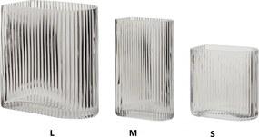 Hübsch Sklenená váza Clear Grooves S