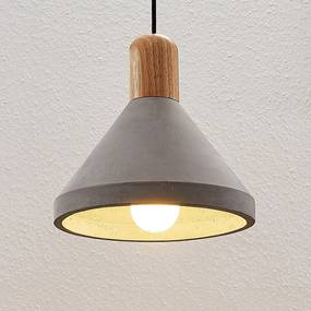 Betónová závesná lampa Caisy s drevom okrúhla