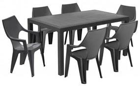 Hector Sada stůl + šest židlí Melody Dante high šedá