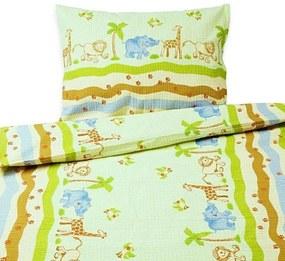 Goldea detské krepové obliečky - vzor 427 zvieratká zo zoo 140 x 200 a 70 x 90 cm