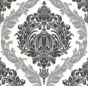 Vliesové tapety na stenu CARAT 02549-20, rozmer 10,05 m x 0,53 m, ornamentálny zámocký vzor čierno strieborný s trblietkami, P+S International
