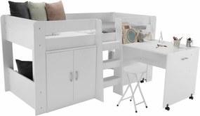 TEMPO KONDELA Fany viacúčelová detská posteľ s roštom biela