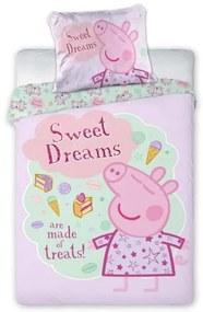 FARO Obliečky do postieľky Peppa Pig pyžamo Bavlna, 100/135, 40/60 cm