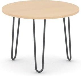 Okrúhly konferenčný stôl SPIDER, priemer 600 mm, čierna podnož, doska buk