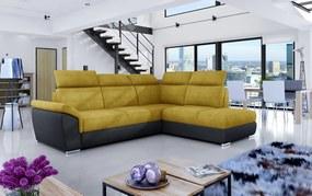 NABBI Leren P rohová sedačka s rozkladom a úložným priestorom žltá / čierna
