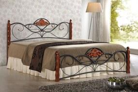 HALMAR Valentina 160 kovová manželská posteľ s roštom čerešňa antická / čierna