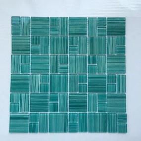 Sklenená mozaika Premium Mosaic tyrkysová 30x30 cm lesk MOS4823MIX3HP