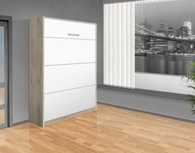 Nabytekmorava Sklápacia posteľ VS 1054 P - 200x160 cm A nosnost postele: štandardná nosnosť, farba lamina: dub sonoma/biele dvere
