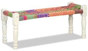 Lavička z masívneho akáciového dreva s chindi látkou, viacfarebná