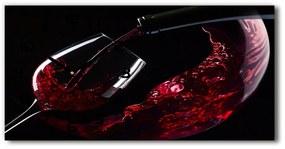 Sklenené hodiny na stenu tiché Červené víno pl_zsp_60x30_f_54930015