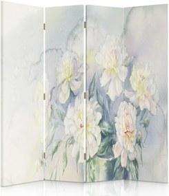 CARO Paraván - White Flowers 3 | štvordielny | obojstranný 145x180 cm