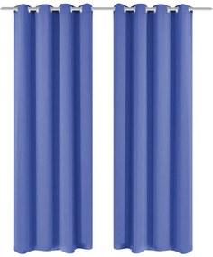 Zatemňovací záves s kovovými očkami, 2 ks, 135x175 cm, modrý