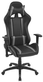 Sklápacie kancelárske kreslo, pretekársky dizajn, umelá koža, šedé