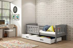 BMS Detská posteľ Kubuš 1 s úložným priestorom / SIVÁ Farba: Sivá / biela, Rozmer.: 190 x 80 cm