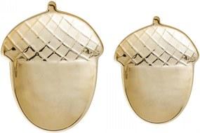 Bloomingville Porcelánové tácky Golden Acorn set 2 ks