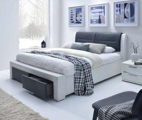 HALMAR Cassandra S 140 čalúnená manželská posteľ s roštom biela / čierna