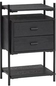 HÜBSCH bočný stolík jaseň/kov 021104FSC, čierna