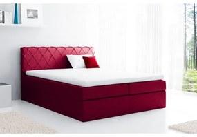Pohodlná čalúnená posteľ Perez 120x200, červená + TOPPER