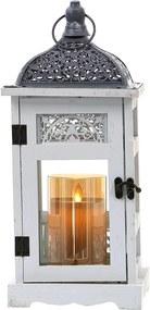 Drevený lampáš s čipkovanou ozdobou MSL2086 - biely (16x16x37 cm) - vidiecky štýl