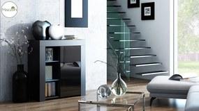 Mazzoni MILA 1D LED skrinka čierna / čierny lesk, obývacia izba
