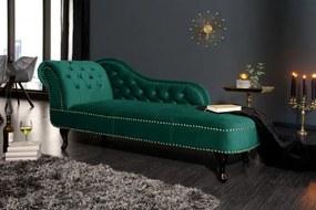 Leňoška Chesterfield smaragdová zelená zamat