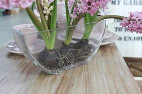 Číra sklenená váza v tvare loďky 24cm