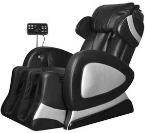 Elektrické masážne kreslo s ovládacím panelom, umelá koža, čierne