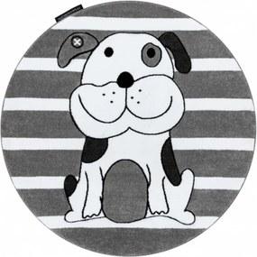 Detský kusový koberec Psík sivý kruh, Velikosti 140cm
