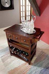 Bighome - CAMBRIDGE Koloniálny servírovací stolík, masívny akáciový nábytok