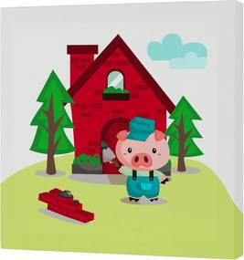 Mr. FOX Nástenný obraz Little pigs - tehlový domček, 27x27 cm