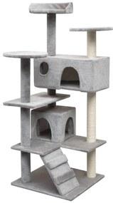 vidaXL Škrabadlo pre mačky so sisalovými stĺpikmi, 125 cm, šedé