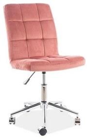 Expedo Detská stolička KEDE Q-020 VELVET, 45x87-97x40, bluvel 52, ružová