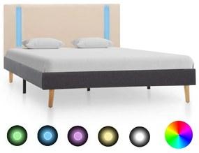 vidaXL Posteľný rám s LED, krémový a tmavosivý, látka 120x200 cm