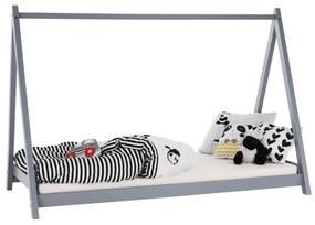 Montessori posteľ, borovicové drevo, sivá, GROSI