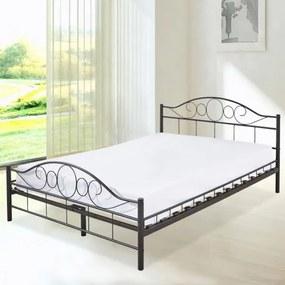 Kovový posteľový rám s lamelami v 2 veľkostiach a farbách- 160x200 cm, čierny