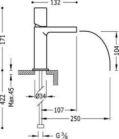 TRES - Jednopáková umyvadlová baterie ramínko s otevřeným vodopádem (20011002VED)