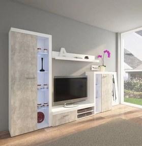 Obývacia stena betón/biela model Pires - bez LED osvětlení