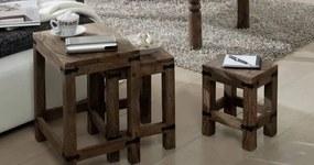 Bighome - CASTLE Príručný stolík - set 3 stolíkov, palisander