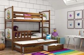 LPT 007 180x80 Poschodová posteľ s motívmi a prístelkou