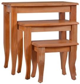 vidaXL Bočné stolíky 3 ks masívne mahagónové drevo
