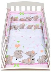 NEW BABY New Baby Slony 2-dielne posteľné obliečky New Baby 90/120 cm růžové so sloníky Ružová |