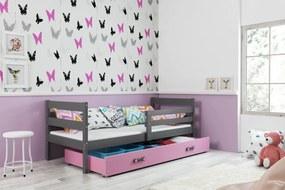 Posteľ ERIK 1 - 200x90cm Grafitový - Ružový