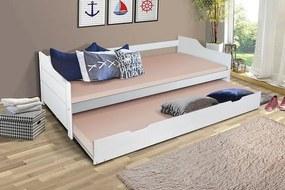 MAXMAX Detská posteľ s výsuvnou prístelkou z MASÍVU 200x90 cm BABETA - biela 200x90 NIE